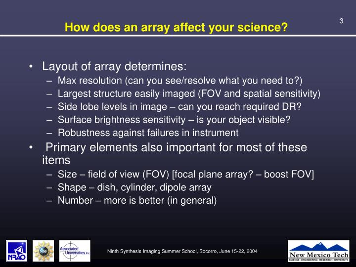 How does an array affect your science