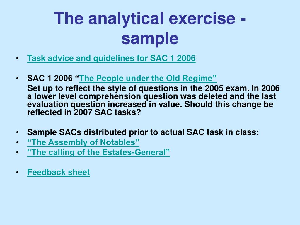 The analytical exercise -