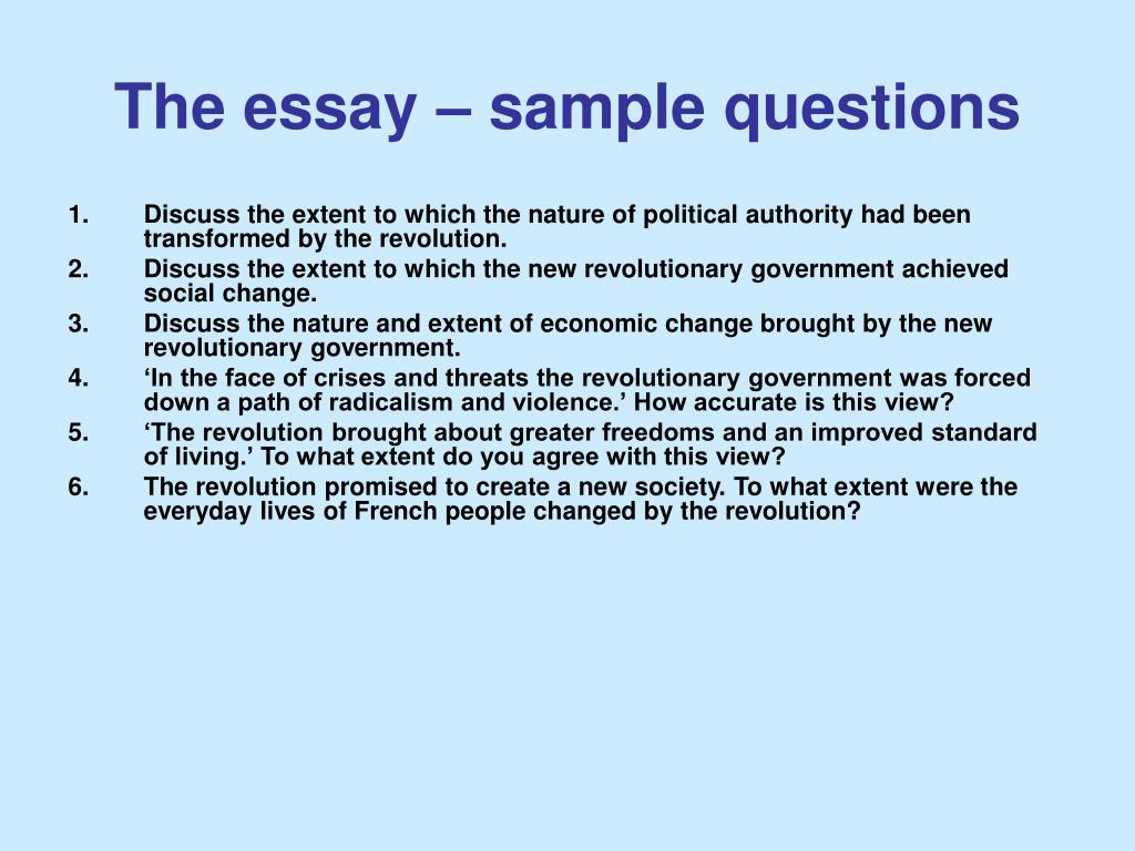 Example of answering questions in essay format