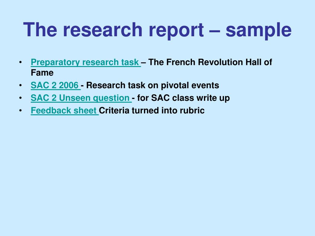 The research report – sample