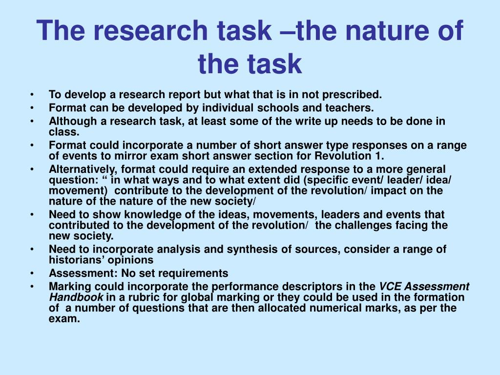 The research task –the nature of the task