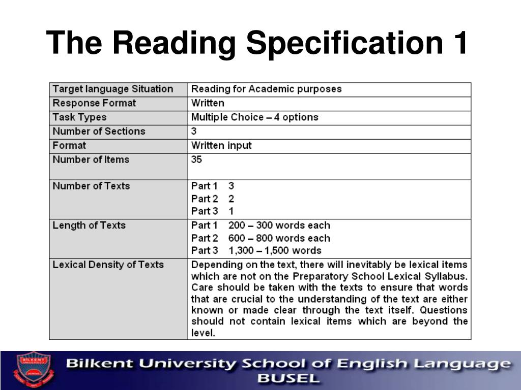 The Reading Specification 1