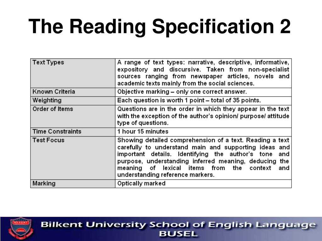 The Reading Specification 2