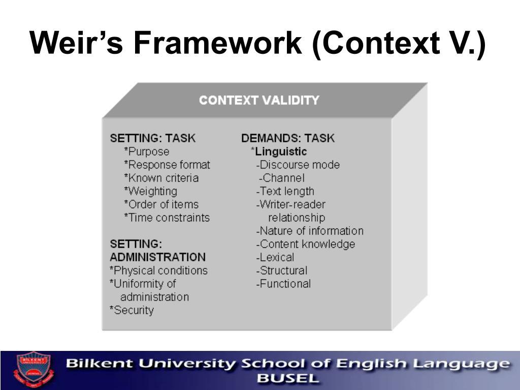Weir's Framework (Context V.)