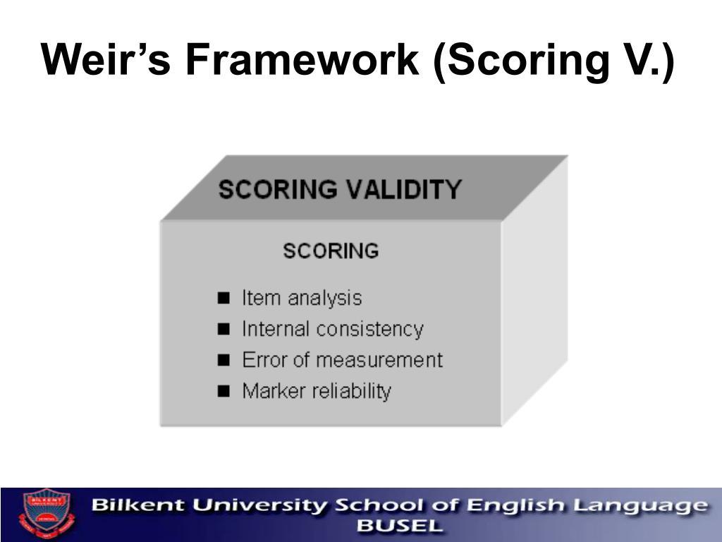 Weir's Framework (Scoring V.)