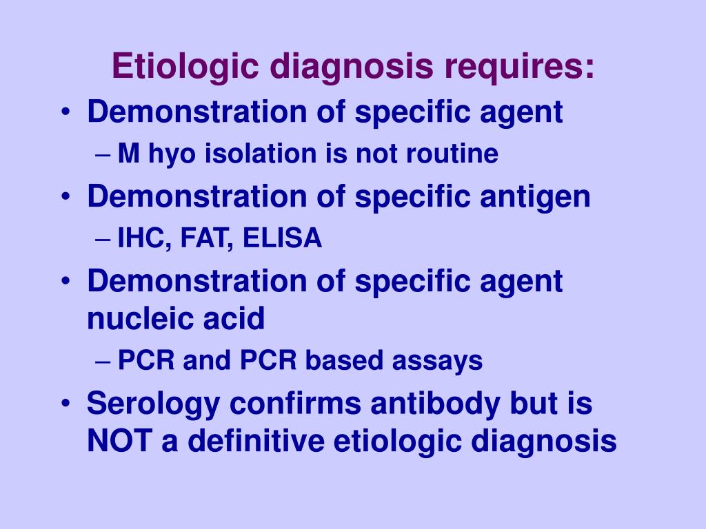 Etiologic diagnosis requires: