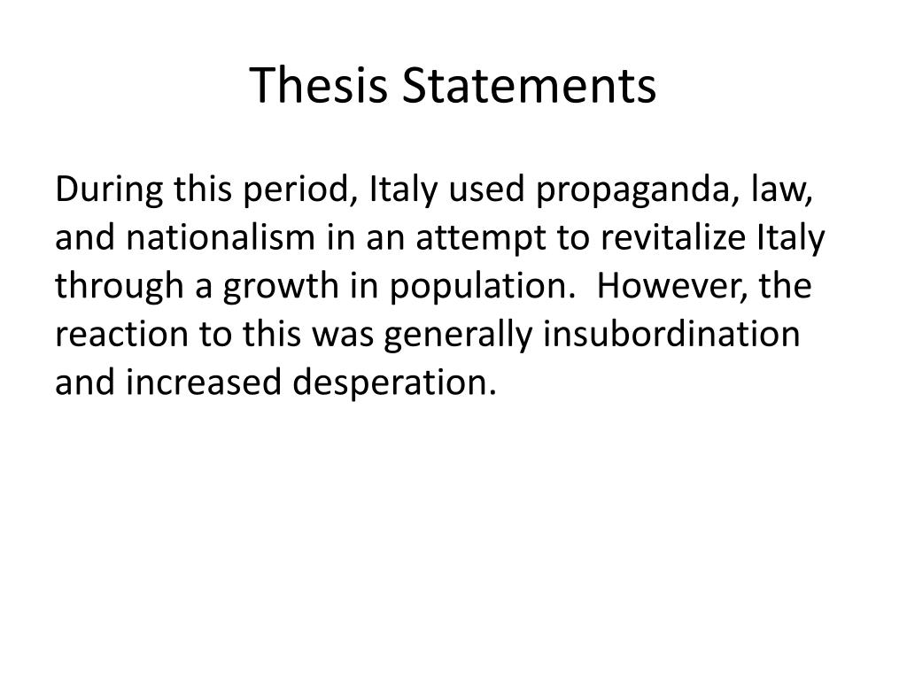 thesis statement for italy This could explore why some immigrants move to little italy or chinatown and others merge he asks for a thesis statement and all you do is give.