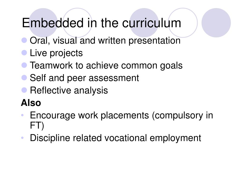 Embedded in the curriculum