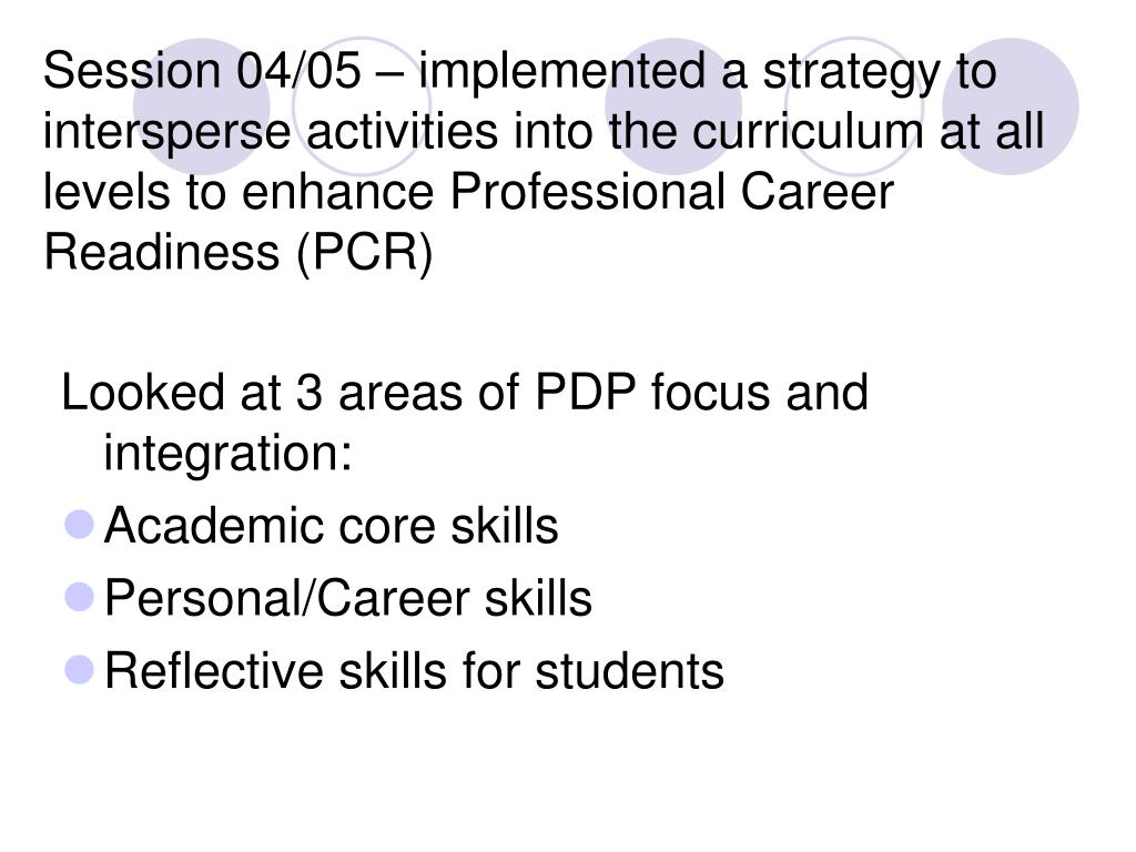 Session 04/05 – implemented a strategy to intersperse activities into the curriculum at all levels to enhance Professional Career Readiness (PCR)