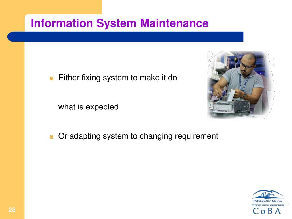 Information System Maintenance