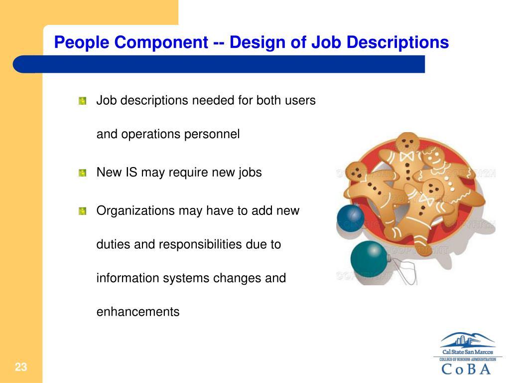 People Component -- Design of Job Descriptions