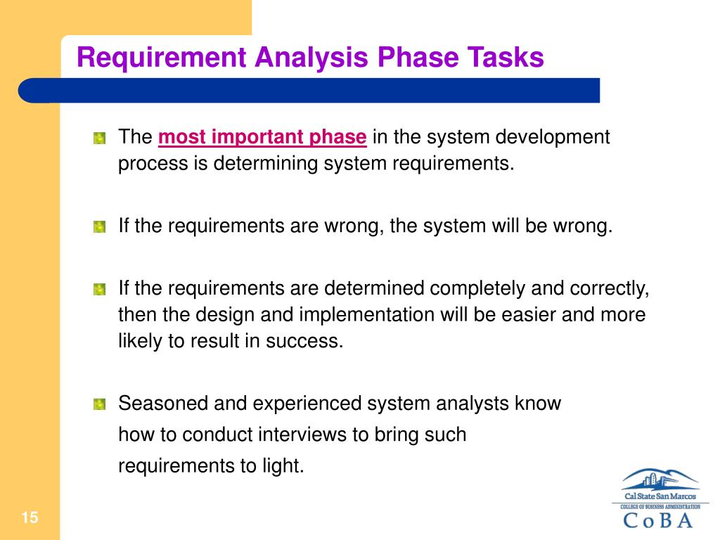 Requirement Analysis Phase Tasks