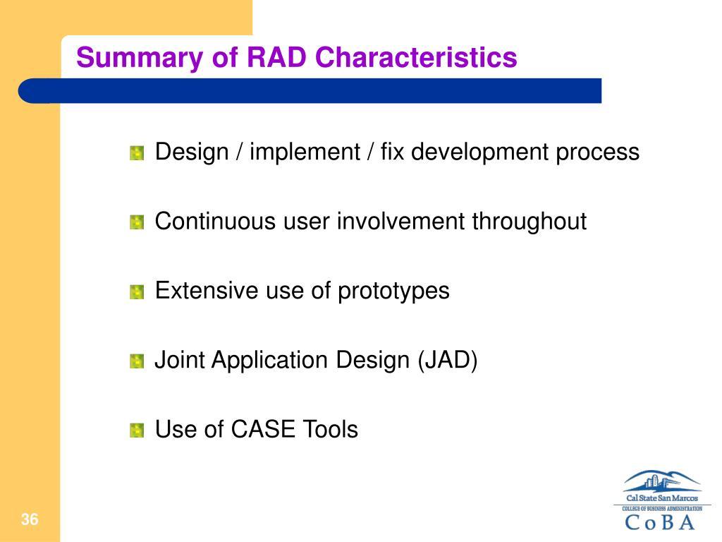 Summary of RAD Characteristics