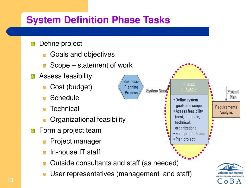 System Definition Phase Tasks