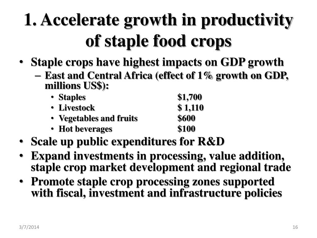 1. Accelerate growth in productivity of staple food crops