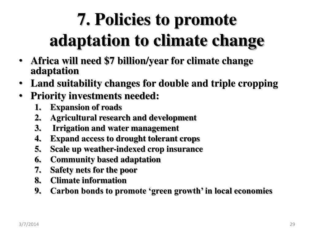 7. Policies to promote