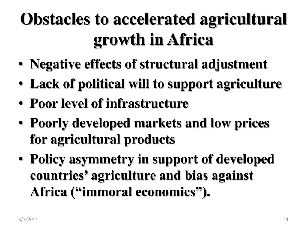 Obstacles to accelerated agricultural growth in Africa