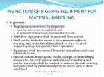 inspecti on of rigging equipment for material handling
