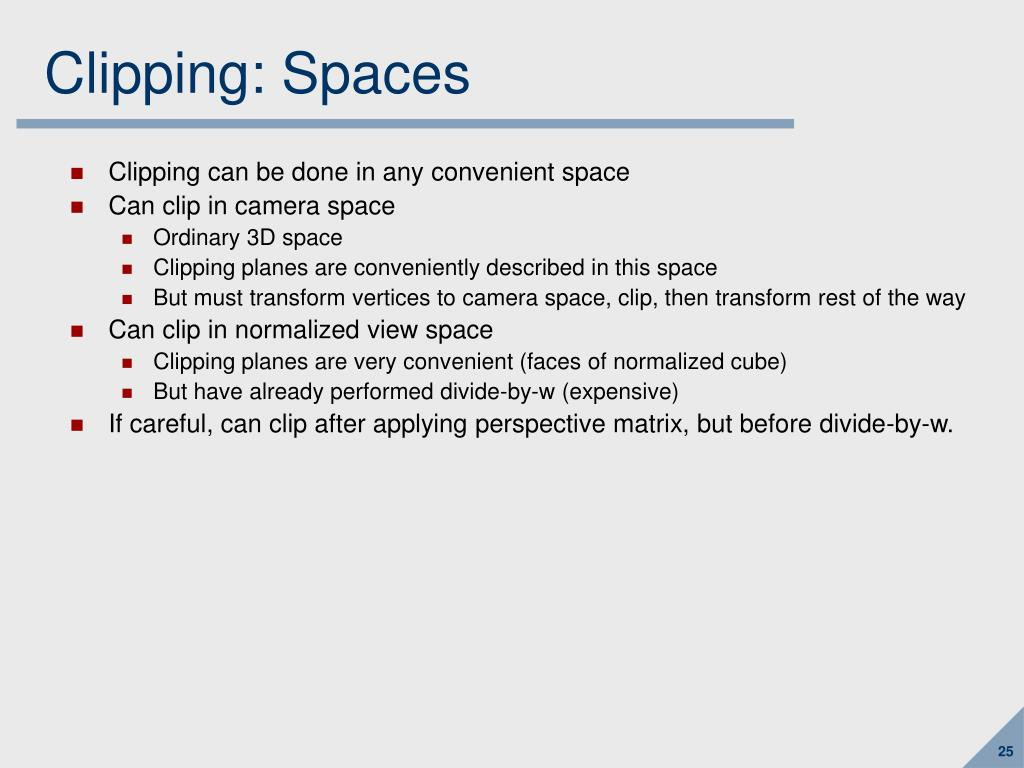 Clipping: Spaces