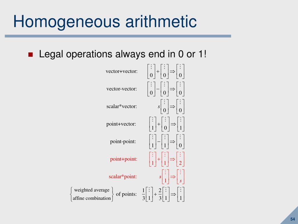 Homogeneous arithmetic