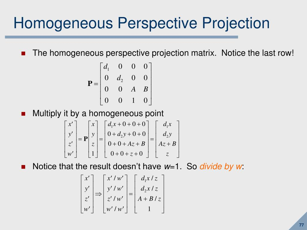 Homogeneous Perspective Projection