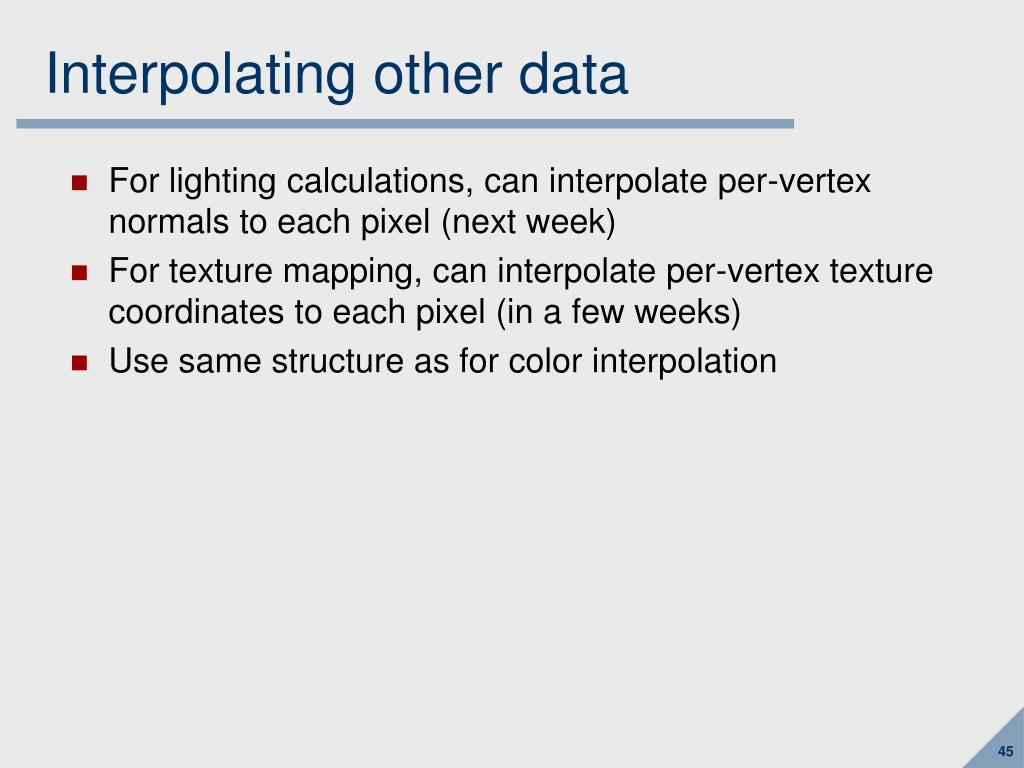 Interpolating other data