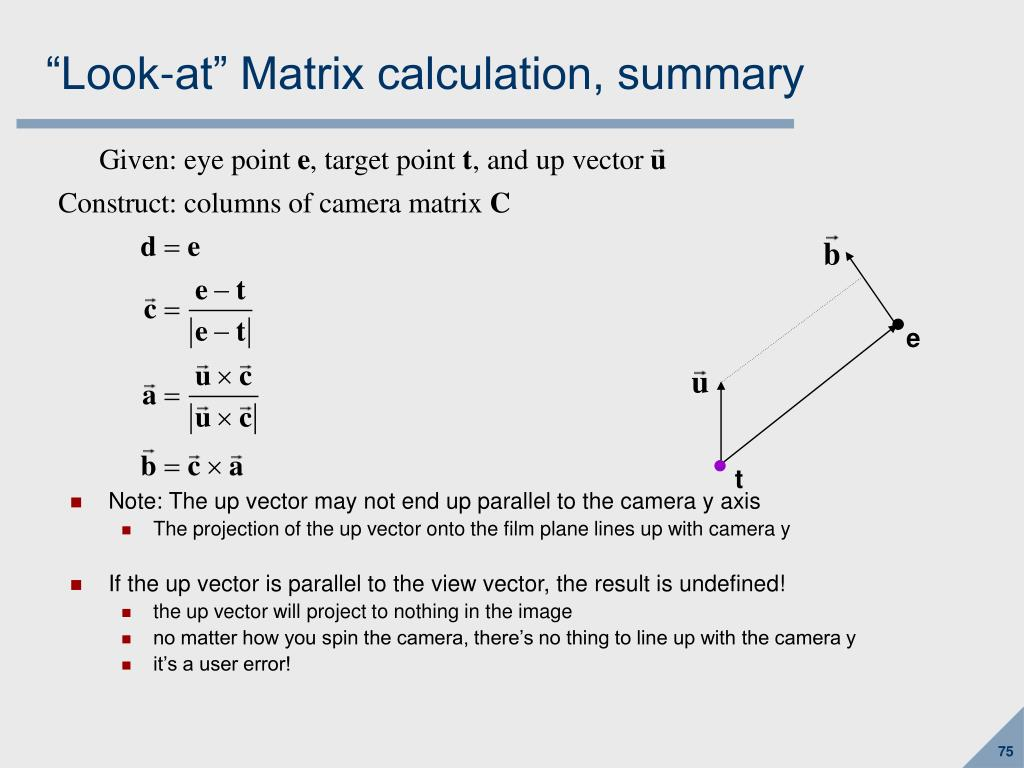 """Look-at"" Matrix calculation, summary"