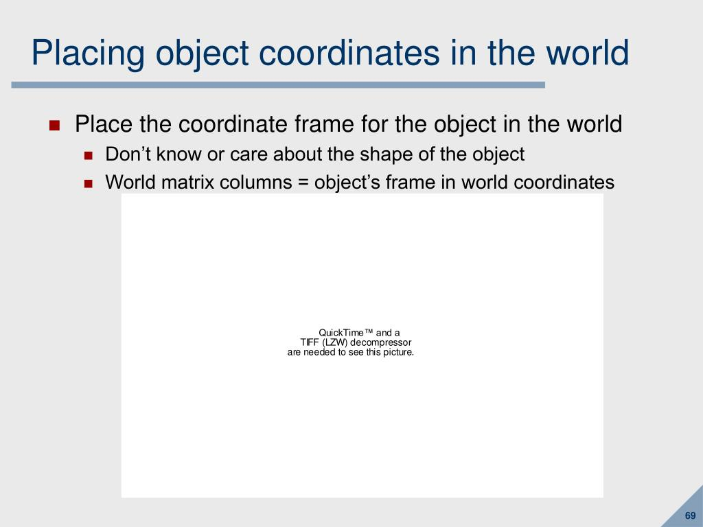 Placing object coordinates in the world