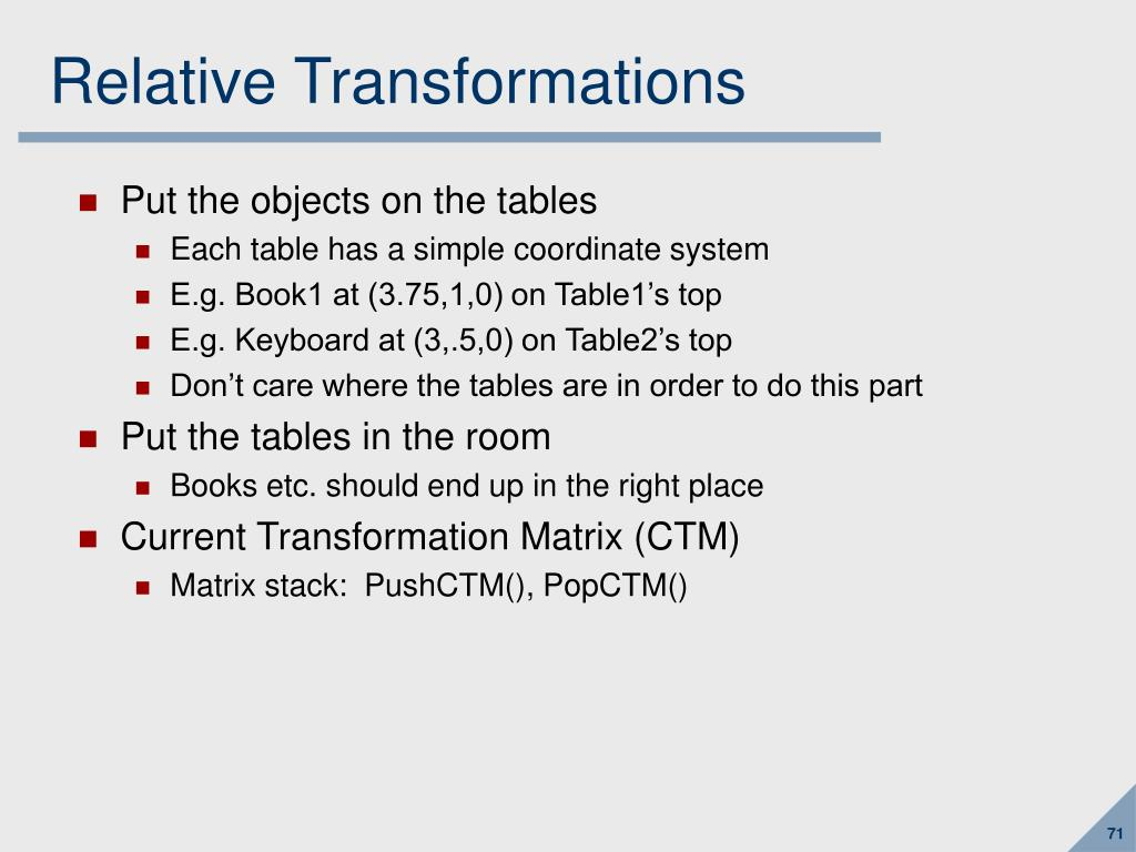 Relative Transformations