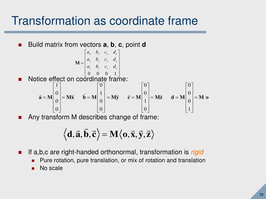 Transformation as coordinate frame