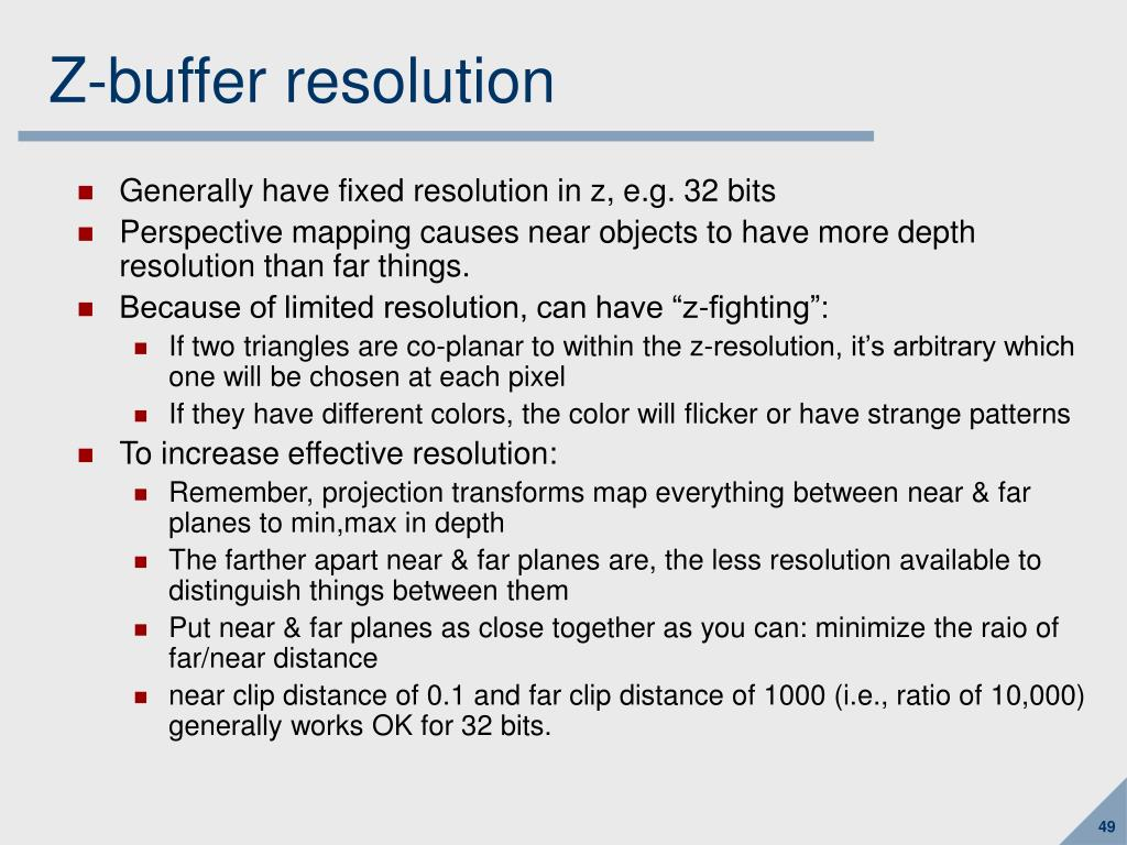 Z-buffer resolution