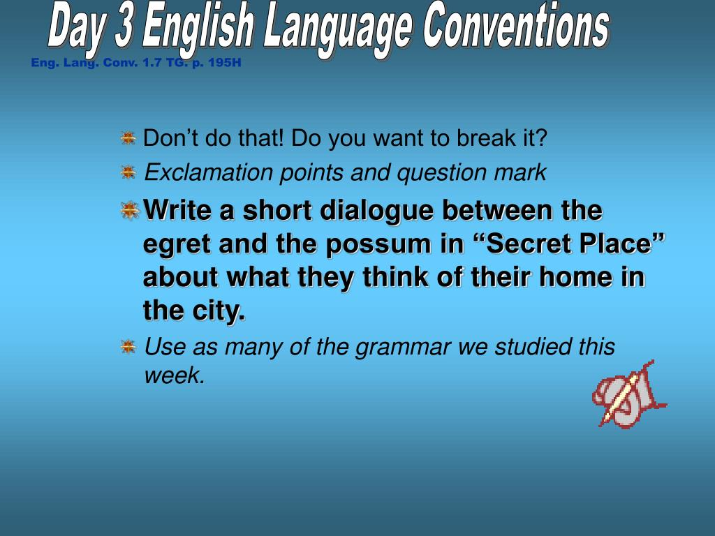 Day 3 English Language Conventions