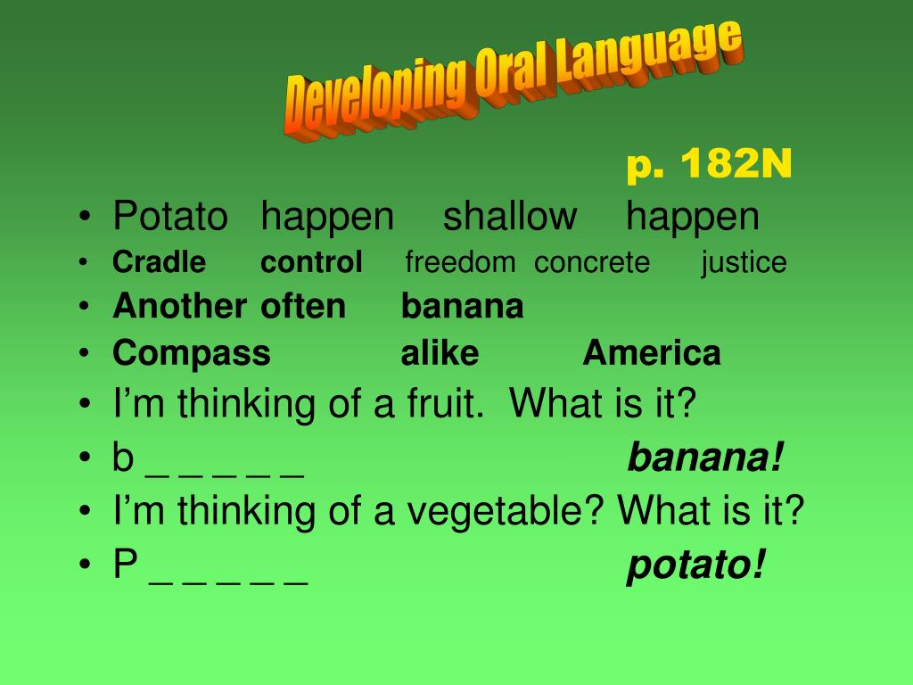 Developing Oral Language