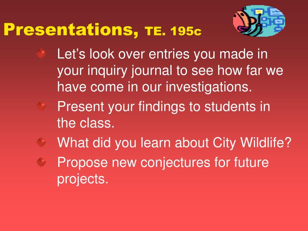 Presentations,
