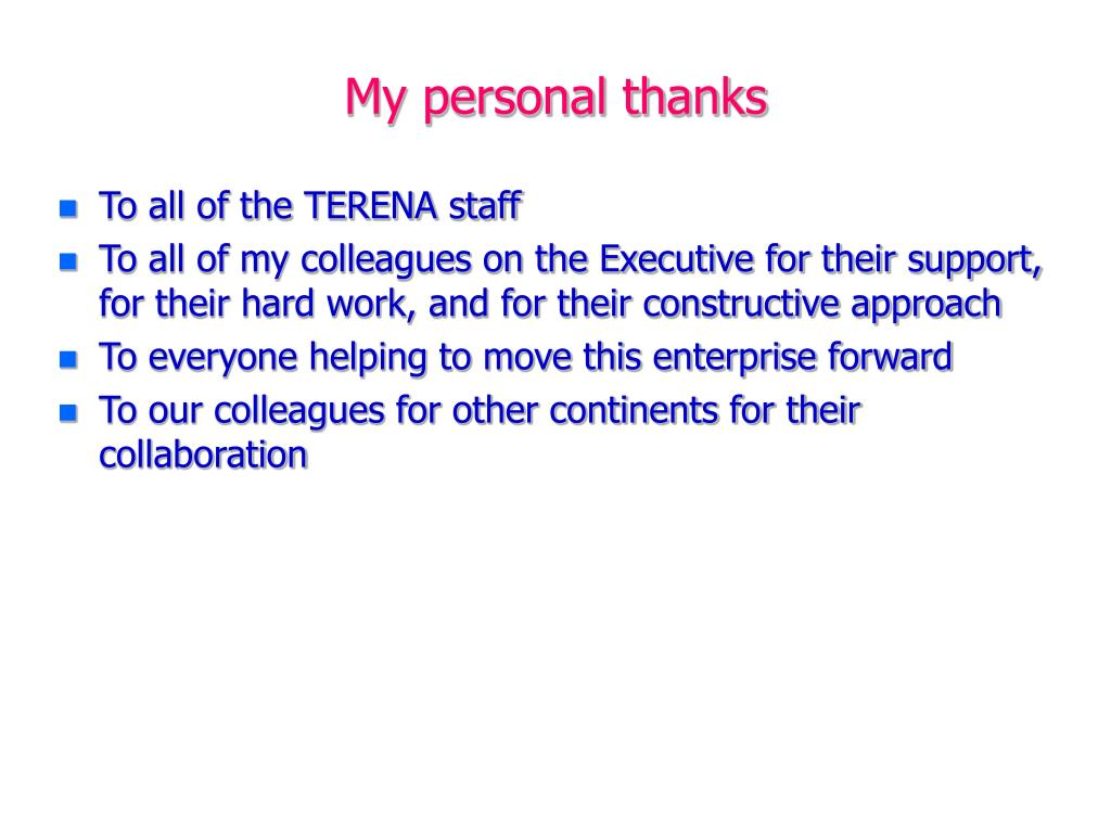 My personal thanks