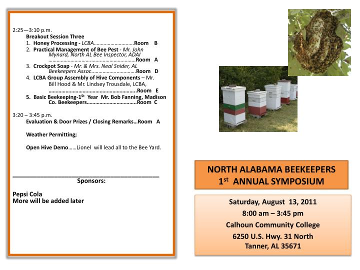 north alabama beekeepers 1 st annual symposium