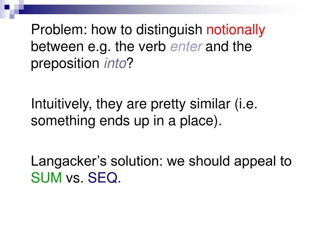 Problem: how to distinguish