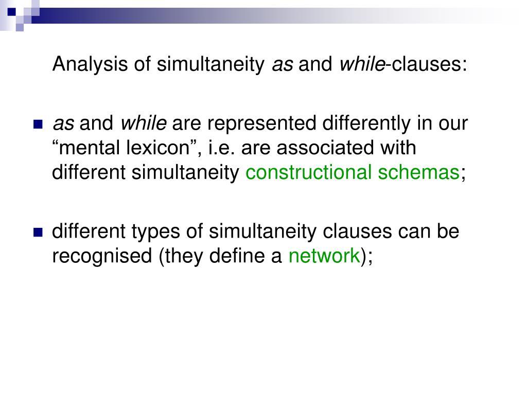 Analysis of simultaneity