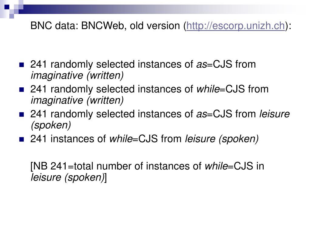 BNC data: BNCWeb, old version (