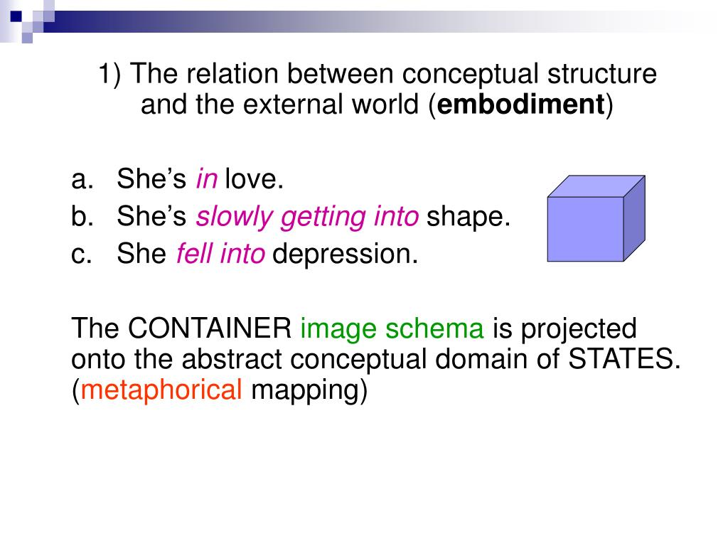 1) The relation between conceptual structure and the external world (