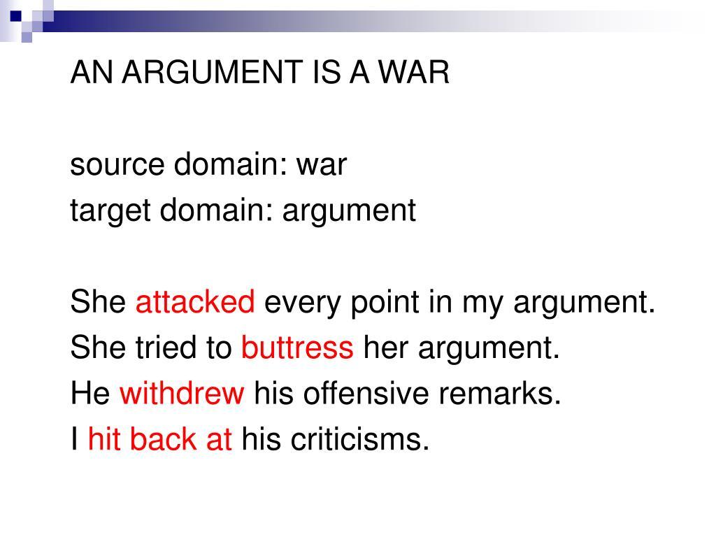 AN ARGUMENT IS A WAR