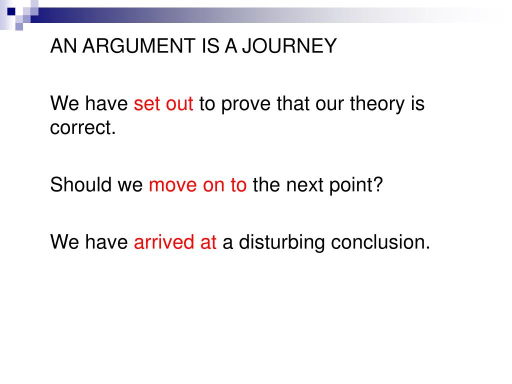 AN ARGUMENT IS A JOURNEY