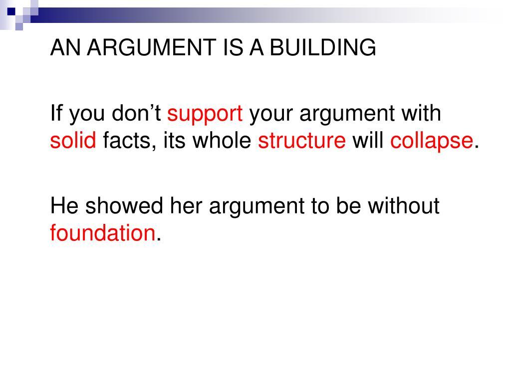 AN ARGUMENT IS A BUILDING