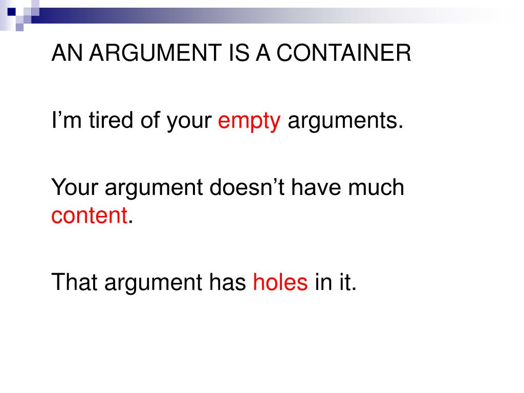 AN ARGUMENT IS A CONTAINER