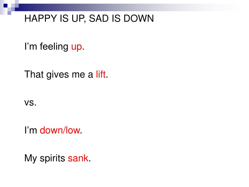 HAPPY IS UP, SAD IS DOWN