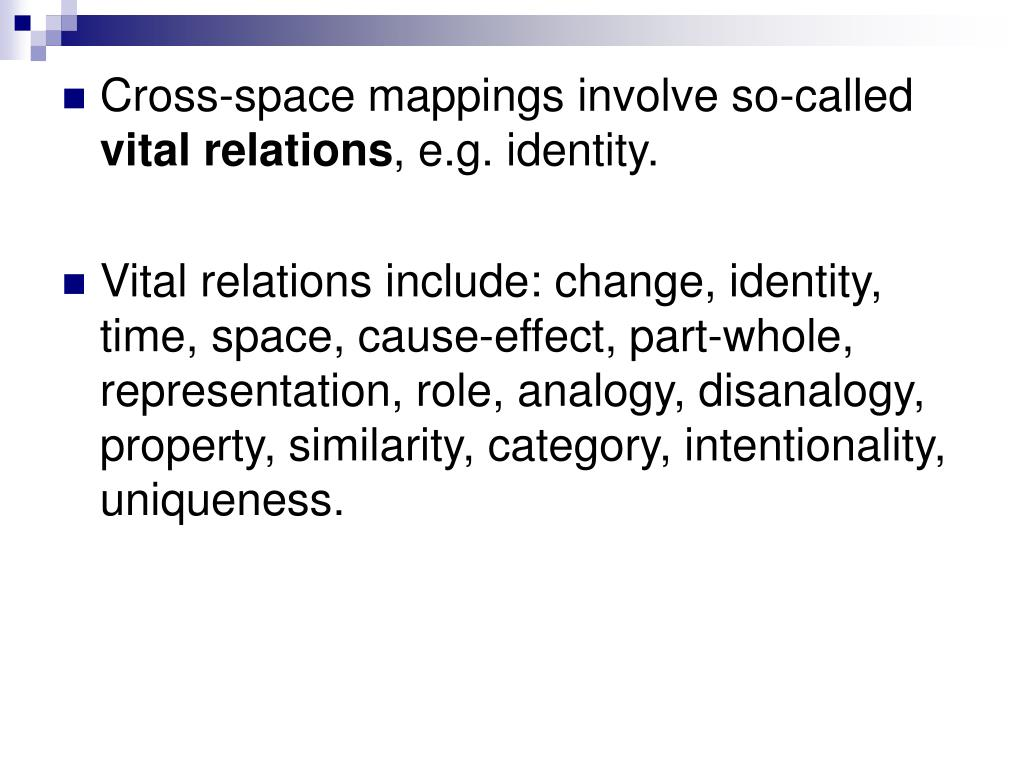 Cross-space mappings involve so-called
