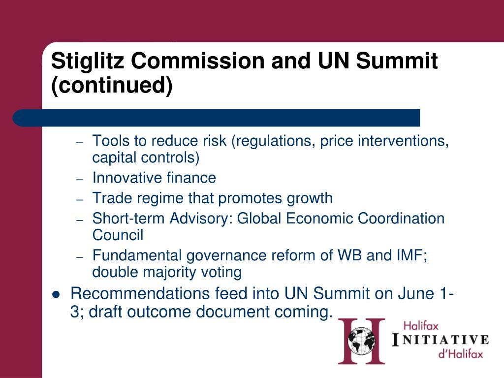 Stiglitz Commission and UN Summit (continued)