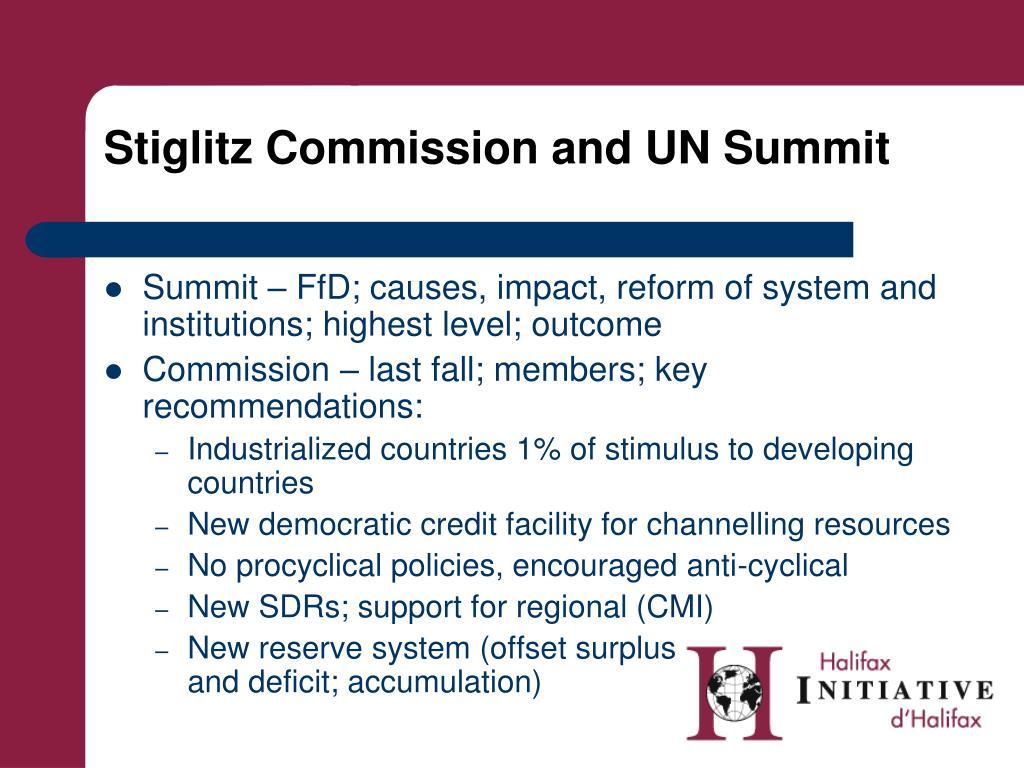 Stiglitz Commission and UN Summit