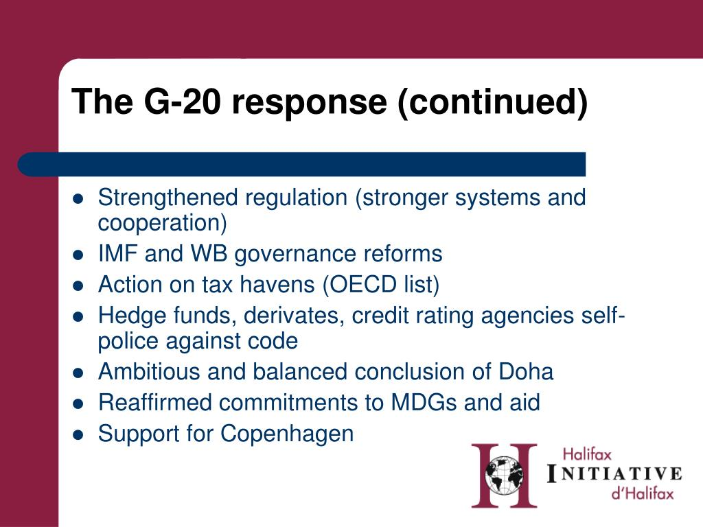 The G-20 response (continued)