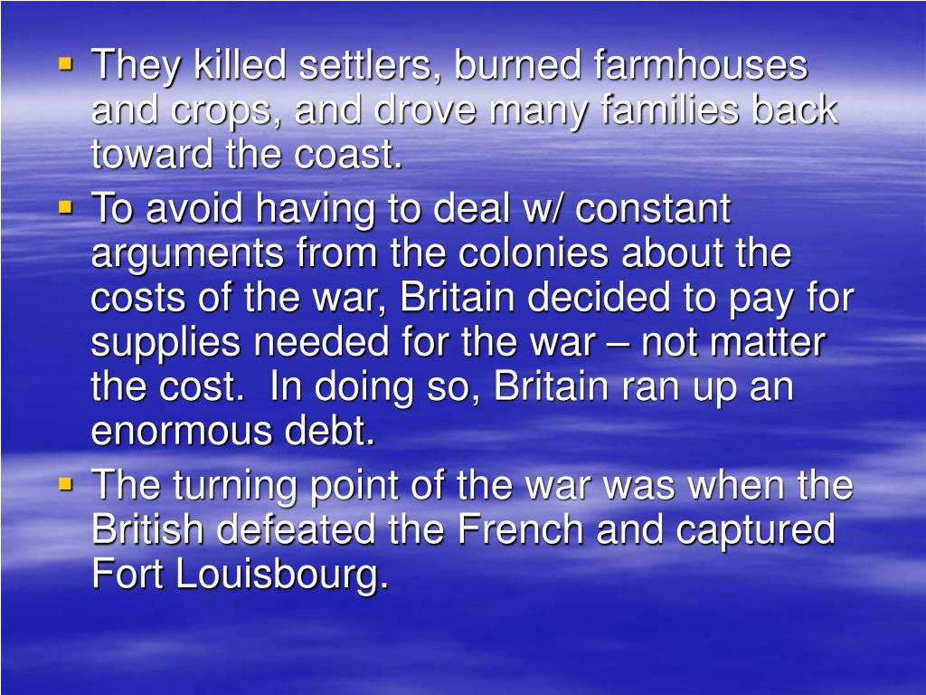 They killed settlers, burned farmhouses and crops, and drove many families back toward the coast.